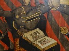 1445-1449 - 'family of Jean Jouvenel (Juvnal) des Ursins' ((circle of the) Master of the Munich Golden Legend?), Cathdrale Notre-Dame, Paris, Muse de Cluny, Paris, France (roelipilami) Tags: 1445 1449 family jean jouvenel des ursins juvenal cathedrale cathedral notre dame paris parijs parigi master munich golden legend maitre legende doree meister mnchner legenda aurea meester van gouden muse museo cluny museum armet sallet great bascinet surcoat surcotte tabard tabart votif votive panel painting armor armour rstung harnas prayer wrapper visor vizier gilded book