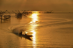 Pak Pra Village (SaravutWhanset) Tags: travel sunset summer sun sunlight sunrise asian thailand boat asia traditional thai nets twopeople beatiful cuve inexploer