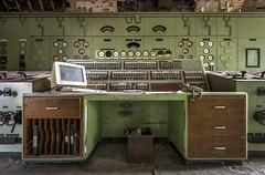 Control Desk (Camera_Shy.) Tags: old urban abandoned station computer power control desk room disused exploration knobs switches derelict dials ue