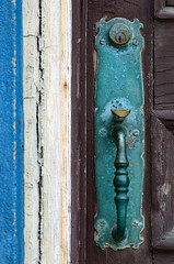 Patina (James_D_Images) Tags: door wood blue brown building green metal handle victorian ivory frame porttownsend pacificnorthwest weathered washingtonstate brass 1890 tarnish jamb patina