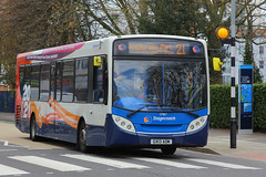 GX13 AOM, Queen Street, Portsmouth, April 18th 2016 (Suburban_Jogger) Tags: travel bus public canon spring transport hampshire portsmouth april vehicle passenger queenstreet omnibus 2016 southdown 24105mm 27867 alexanderdennis route21 enviro200 stagecoachhampshire gx13aom