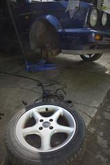 Shocking job (route9autos.co.uk) Tags: classic car vw golf volkswagen spring suspension glasgow garage front 1993 workshop shock cabrio strut clipper cabriolet absorber mk1 borbett