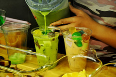 Milk teas (Roving I) Tags: vietnam jelly jello jugs greentea pouring cafes confectionery danang milktea plasticcontainers sweettreats