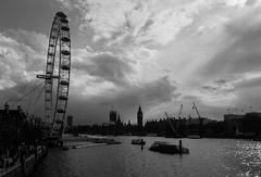 DSC07084 (Spannarama) Tags: uk blackandwhite sunlight london westminster thames clouds river housesofparliament londoneye bigben