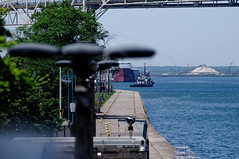 First View of the Blough (joeldinda) Tags: vacation sky cloud tree lamp up june boat nikon ship michigan greatlakes soo upperpeninsula laker freighter saultstemarie sault soolocks d300 2016 internationalbridge lakesboat 3148 bulker rogerblough nikond300 candaceelise