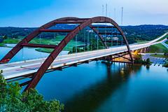 Pennybacker bridge in Austin, Texas (hectorchin1988) Tags: bridge blue light green canon austin river long exposure loop trails 360 pennybacker 500px ifttt