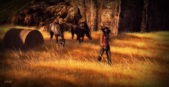 Feedin' The Horses (erikmofanui) Tags: horses colors hay sexyman landscaoe secondlifeavatar secondlifephotography secondlifelandscape sexypeopleofsecondlife
