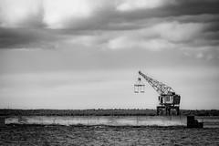 Old Abandoned Crane. (J. Pelz) Tags: blacknwhite abandoned lonely construction crane furillen canon harbour art gotlandsln sweden se