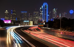 Dallas in Blue_5677 (miss_betty2012 (not available much)) Tags: longexposure blue colors night buildings lights us dallas cityscape texas traffic unitedstates freeway citylights lighttrails buildinglights