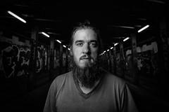 N IV (Zesk MF) Tags: portrait bw black white man beard zesk person street dark flash octabox