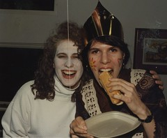 Kina and Val (bobmendo) Tags: oldschool anothersphotos hotdog frankfurter eating whiteface makeup dressup
