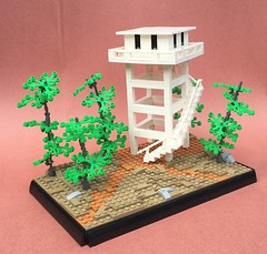 Two Forks (Tilde Brick) Tags: firewatch lego redbackground pink white nougat dark tan trees