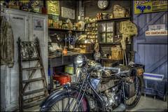 The Shuttleworth Garage (Darwinsgift) Tags: the shuttleworth collection old warden bedfordshire garage motorbike abc workshop hdr photomatix voigtlander 28mm f28 color skopar sl ii 2 history museum retro vintage antique nikon d810