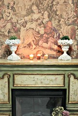 a little warmth (YourCastlesDecor) Tags: plants urn seashells fireplace candle warmth greencolor mantledecor