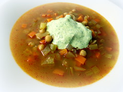 Spicy chickpea and bulgar soup with harissa and creamed feta paste (Blue moon in her eyes) Tags: food recipe photography soup wheat mint more homemade carrot garlic onion spicy coriander cumin plenty celery feta cremefraiche chickpea bulgur harissa yotam bulgar caraway ottolenghi keitto plentymore yotamottolenghi