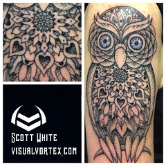 Just did this super-fun little dotwork-mandala owl !! I love this stuff! #tattoosbyscottwhite #dotwork #blackwork #neotatmachines #eternalinks #envyneedles #mandala #owl @blackworkers @theinkedlife @theartofsacredgeometry