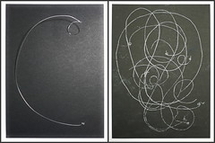 """Music and Physics - Albert Einstein`s Violin String - Albert Einsteins Violinsaite - Drawings of a no longer used Prop, that was placed on my table during Rehearsals Friedrich Drrenmatt """"Die Physiker"""" """"The Physicists&"""