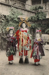 Tayuu and two child attendants (kamuro) (noel43) Tags: japan japanese district prostitute parade prostitution redlight pleasure meiji yoshiwara taisho shimabara oiran tayu tayuu kamuro