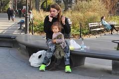 green shoes (omoo) Tags: newyorkcity toddler streetscene washingtonsquare littlegirl fatheranddaughter holdem greenwichvillage uggs greenshoes biglittlefeet dscn7476 uggsforher