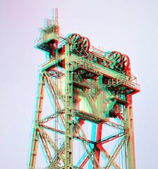 Dismantling elevator De Hef 3D (wim hoppenbrouwers) Tags: de 3d rotterdam elevator anaglyph stereo railwaybridge dismantling hef dehef redcyan dehefrotterdam ontmanteld dehefontmanteld
