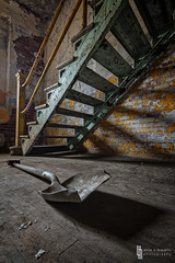 Steps, Shadows and Shovel (billmclaugh) Tags: shadow abandoned industry stairs photoshop canon buffalo rust industrial factory mark grain explore adobe urbanexploration silos shovel hdr highdynamicrange boiler maio tse onone lightroom malt urbex grainelevators tiltshift markiii 17mm f4l photomatix silocity promotecontrol perfecteffects