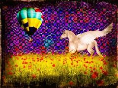 FaKe (Ba®ky) Tags: flowers sky horse flower art japan asian weird colorful artistic pegasus jesus cartoon balloon fake surreal kitsch psychedelic wacky cartoonish iphone barky 芸術 سكس abigfave aplusphoto wowiekazowie iphoneography barkyvision ba®ky