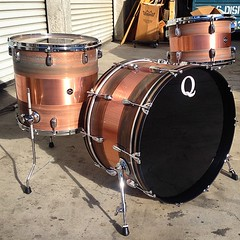 Starting this week right. Copper 24, 13, 16 with a patina/brushed/patina finish. #qdrumco #copper #patina #drums