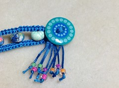 Turquoise double band bracelet, button (beadtailor) Tags: handmade jewelry bracelet macrame micromacrame macrameschool