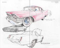 Plymouth Savoy / Cadillac Eldorado (Flaf) Tags: auto colour car museum pen pencil ink drawing plymouth christine cadillac eldorado american florian crayon savoy freie hachenburg flaf strasenkreuzer afflerbach zeichnerei