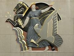Rockefeller Center relief, 1930s (DeBeer) Tags: nyc newyorkcity sculpture newyork art statue 1930s eagle manhattan pegasus rockefellercenter relief midtown artdeco allegory 20thcentury allegorical leelawrie architecturalsculpture 20thcenturyart leeoscarlawrie polychomed plolychromy