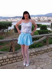 Perfect colors (Paula Satijn) Tags: blue white hot sexy stockings girl smile happy shiny pumps legs outdoor silk skirt tgirl crete transvestite satin miniskirt gurl