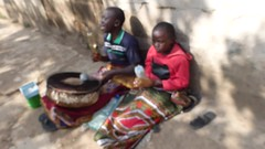 Singing and drumming (prondis_in_kenya) Tags: video kenya drum pavement nairobi beggar sing footpath hotdryseason