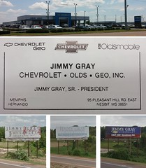 Jimmy Gray's Billboard (Retail Retell) Tags: jimmy gray chevrolet geo oldsmobile southaven ms billboard nesbit north hernando car care desoto county retail 1990s high school yearbook