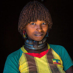 Portrait of a hamer tribe woman with ethiopia football shirt, Omo valley, Turmi, Ethiopia (Eric Lafforgue) Tags: africa portrait people color cute shirt hair square outdoors photography necklace football women colorful day adult african culture tribal headshot blackpeople omovalley ethiopia tribe ethnic hairstyle oneperson hamer hornofafrica ethnology eastafrica abyssinia onepersononly realpeople blackskin onewomanonly lookingatcamera waistup turmi africanethnicity 1people indigenousculture ethnicgroup oneadult blackethnicity modernityandtradition ethiopianethnicity ethio161535