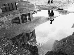 Mirror (MobilShots) Tags: street people blackandwhite reflection water monochrome rain mirror streetphotography ground iphoneography iphone6 iphoneartist