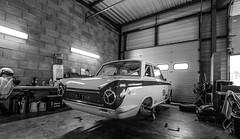 Garage of my dreams (NaPCo74) Tags: auto bw classic ford cortina dijon lotus garage grand pit racing historic prix peter age dor 1964 paddock 2016 mk1 prenois u2tc gpao