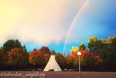(absolute_simplicity) Tags: rainbow flickr sky outdoor trees ontario clouds tipi iphone colours landscape