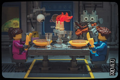 Candlelit dinner (Priovit70) Tags: lego minifigures space classicspace spacestation outpostalpha benny kelly mrrobot candlelit dinner serenade chefatronxc4000 violin waffles olympuspenepl7