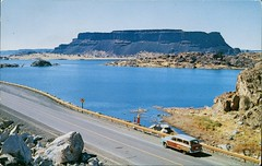Steamboat Rock, Grand Coulee, Washington (SwellMap) Tags: architecture vintage advertising design pc 60s fifties postcard suburbia style kitsch retro nostalgia chrome americana 50s roadside googie populuxe sixties babyboomer consumer coldwar midcentury spaceage atomicage