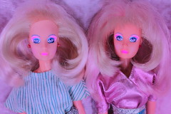 My two jems (Vuffy VonHoof) Tags: pink vintage photography cool doll neon dolls head pastel funky retro 80s heads jem earrings jerrica dollhead holograms