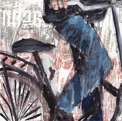 # 179 (27-06-2016) (h e r m a n) Tags: herman illustratie tekening bock oosterhout zwembad 10x10cm 3651tekenevent tegeltje drawing illustration karton carton cardboard benen legs fiets bicycle cyclist cycling trapper trappers