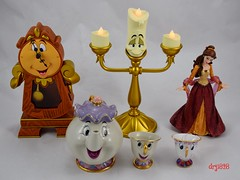 Beauty and the Beast Figurines - Cogsworth, Lumiere, Christmas Belle, Mrs. Potts and Two Chips (drj1828) Tags: disney beautyandthebeast 2016 mrspotts chip ceramic teacup teapot teaset katokogei us disneyparks disneyland purchase cogsworth clock lumiere candle lightup amazon enesco couturedeforce belle holiday christmas figurine 8inch ornament resin glitter deboxed