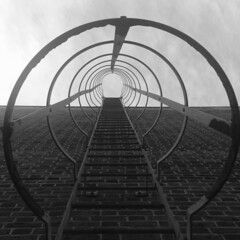 Stairway to an urban heaven (Olivia Darby) Tags: urban blackandwhite london up architecture stairway fireescape ladder oldstreet