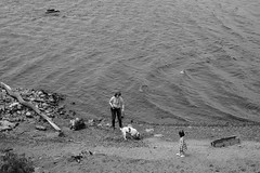 (nVa17) Tags: trio three dog woman girl child river meeting coast perm           53mm xt1 fujifilmru blackandwhite blackandwhitephotography blackwhite bnw bw  streetphotography
