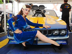 Holly_9660 (Fast an' Bulbous) Tags: plymouth cuda promodified drag race car track santa pod england produtch fast speed power people girl woman chick babe blue dress long brunette hair high heels stilettos stockings hot hotty sexy
