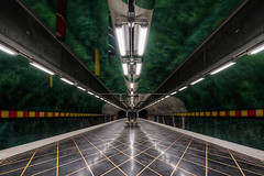 Level Up... (JH Images.co.uk) Tags: stockholm underground station metro tunnelbana symmetry symmetric lines green yellow red hdr dri rocks tunnel platform architecture art sweden huvudsta