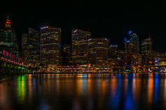 Good Night (Dioniks) Tags: building city harbour light night water darlingharbour australia sydney waterfront skyline architecture outdoor tower colors colours nightime westfield