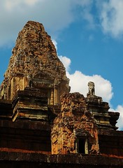 towers and lions of Pre Rup (SM Tham) Tags: asia cambodia angkor unescoworldheritagesite prerup khmer stone temple architecture building towers doorways lion statue stonecarvings sky clouds outdoors