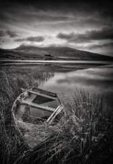 Curves (Captain Nikon) Tags: llynygader snowdonia snowdonianationalpark northwales boat abandoned decayed curves curving reflections moody moods nikond7000 sigma1020mm