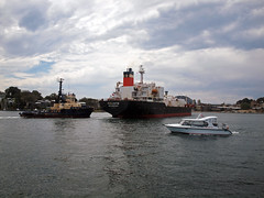 Goliath departure 7 (PhillMono) Tags: voyage new cloud white water wales bay jones boat dock ship harbour taxi south sydney overcast australia vessel wharf tug goliath departure carrier tanker freighter bulk